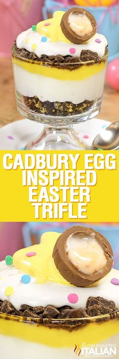 """My """"Ode to the Cadbury Egg, Trifle"""". This is one that I knocked out of the park; a fabulous dessert that you are not going to want to share. A simple 5 ingredient recipe that is ready in just 10 minutes!"""