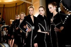 Models in Black & Crystals backstage at Versace Fall 2013 Couture