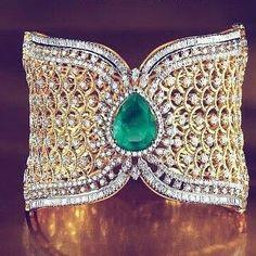 Gold, diamond, emerald cuff bracelet