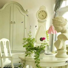 """WD2 - Gustavian Armoire (with Hanging Rail)  Price (raw): £959.00   Price (painted): £1,379.00  84cm W x 57cm D x 195cm H  Widely recognised as our """"signature piece"""" over the years the Armoire was first commissioned for an article in Homes & Gardens and has been widely featured in various publications ever since. Shown here in raw wood, in a bespoke plain white and in Old White."""