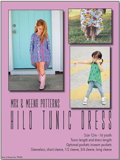 Hilo Tunic Dress by Max & Meena Pdf Sewing Patterns, Print Patterns, Tunic Dress Patterns, Girl Outfits, Long Sleeve, Girls, Sleeves, Seasons, Pockets