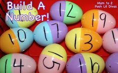 Practice number recognition with plastic eggs - call out a number and have child build it using 2 halves of plastic eggs! #Momto2PoshLilDivas