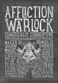World of Warcraft Class Specialization / Roleplaying / Fantasy Inspired Art Print - Affliction Warlock - Clothing, Art Prints and Posters Available now! Wow Warlock, Warlock Dnd, Lotr, Dark Tide, Type Posters, Wall Posters, Wow World, Les Themes, Dibujo