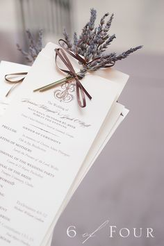 Calligraphy Wedding Invitations with Couture Monogram { Luxury Southern Weddings }   Emily McCarthy Weddings  Like the lavender on the menu cards.  Purple ink??