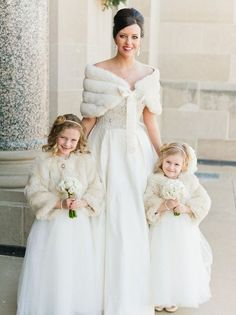 A bride and two flower girls