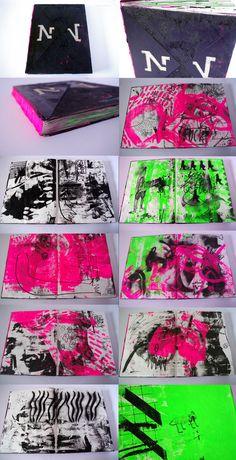 ARTBOOKS made from old sketchbooks + screenprinting + stencil – - Art Sketches Creative Gfx Design, Design Art, Cover Design, Layout Design, Sketchbook Inspiration, Art Sketchbook, Buch Design, Roald Dahl, Typography Art