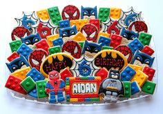 Hero Lego Birthday Platter awesome Lego/Superhero cookies from Cookie Artisan. I know some little (and big) boys who would love theseawesome Lego/Superhero cookies from Cookie Artisan. I know some little (and big) boys who would love these Lego Batman Party, Fiesta Batman Lego, Lego Spiderman, Lego Superhero Cake, Superhero Images, Lego Cake, Lego Marvel, Spiderman Cookies, Lego Cookies