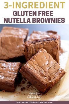 Are you looking for a delicious brownie recipe with minimal ingredients but maximum flavor? This is the BEST recipe and so simple to make with just 3 ingredients! These Gluten Free Nutella Brownies are easy to make and better than any box mix! Gluten Free Sweets, Gluten Free Cookies, Gluten Free Baking, Gluten And Dairy Free Desserts Easy, Best Gluten Free Recipes, Desserts Nutella, Delicious Desserts, Dessert Recipes, Cake Recipes
