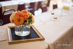 peach wedding centerpiece with dahlia, rose, hydrangea, snowberry, alstroemeria