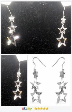 50% OFF #Ebay http://stores.ebay.com/JEWELRY-AND-GIFTS-BY-ALICE-AND-ANN Triple Star Dangle Etched Earrings USA Seller