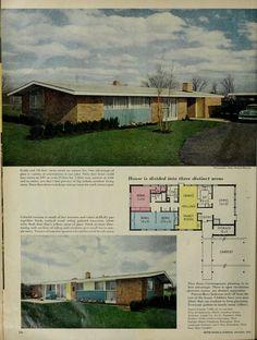 Mid Century House, House Plans, Floor Plans, How To Plan, House Floor Plans, Floor Plan Drawing, Home Plans