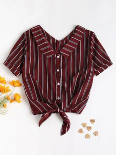 Fold Over Tie Front Striped Casual Shirt – Red Wine M Do you love striped shirts? Check out this casual shirt women Crop Top Outfits, Cute Casual Outfits, Casual Shirts, Casual Art, Hijab Casual, Casual Jeans, Casual Clothes, Smart Casual, Casual Shirt Look