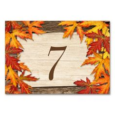 Fall Leaves Table Number Cards Table Cards