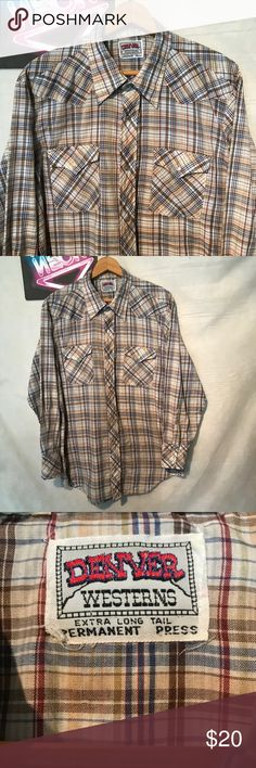 "Denver Westerns Men's Pearl Snap Shirt Sz M A1374 Denver western cowboy shirt vintage, pit to pit - 22"", shoulder to hem - 30"", gently used with no holes or rips, ships from smoke free facility, thank you denver Shirts Casual Button Down Shirts"