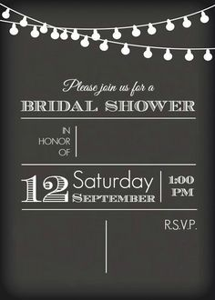 chalkboard bridal shower invitation template plus this post gives lots of great ideas for a rustic bridal shower!