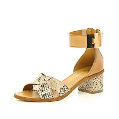 Tan snake strap block heel sandals