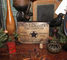 Primitive Vtg Style Retro Star Old Country Smoke House Route 66 Canvas Sign #NaivePrimitive