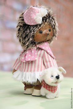 Купить Ива и Чегевара - розовый, ёж, Ёжик, мишка тедди, авторская работа, ручная работа