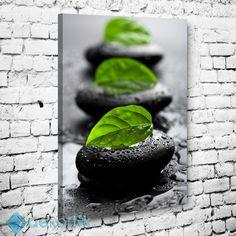 Siyah Taşlar Yeşil Yapraklar Tablo #dekoratif_kanvas_tablo