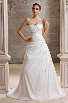 Charming A-line Sweetheart Strapless Chapel Train Taline's Wedding Dress