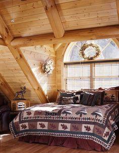 Log cabin bedroom....love the window!!!! via loghome.com