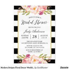 Modern Stripes Floral Decor Wedding Bridal Shower Card