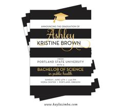 Black Gold Graduation Invitation  Striped by KaylaZimbaPrintables