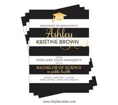 Black Gold Graduation Invitation  Striped by KaylaZimbaPrintables