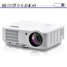 HD Video Projector iRULU 10 2500 Lumens 1280800 1080p HDMI Max 200 Big Screen LCD LED Projector For Home Back Yard Movie Party Games  White ** You can find out more details at the link of the image.