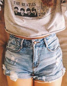 Beatles shirt and high waisted denim shorts