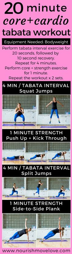 An effective 20 minute bodyweight Tabata workout mixes HIIT cardio intervals with strength and core training. It's all bodyweight, making it to the perfect traveling workout. Interval training with short recovery periods, circuits include squat jumps, air squats, push ups, split jumps, planks, knee taps. 20 minute cardio   core at home workout. Fit mom, fit pregnancy, fit life, fit girl.An effective 20 minute bodyweight Tabata workout mixes HIIT cardio intervals with strength and core…