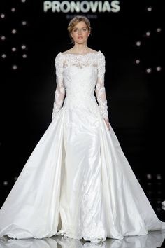 Stunning Long Sleeve Lace Wedding Dress with Overskirt from Atelier Pronovias