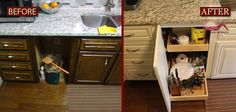 KITCHEN CABINET REFACING BEFORE AND AFTER FROM NEW LOOK REFACING AND MORE  In most cases cabinet refacing costs less than half the expense of replacing cabinets. Most installations can be completed in three (3) to five (5) days. You can usually still use your kitchen while refacing and oftentimes refacing qualifies as a green solution because you're not adding to your landfill.