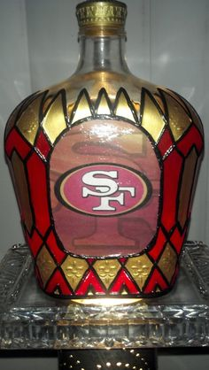 Items similar to San Francisco Football Crown Royal Whisky Liquor Glass Upcycled Bottle/Hand painted Rare OOAK on Etsy Decorated Liquor Bottles, Liquor Bottle Crafts, Recycled Wine Bottles, Wine Bottle Art, Painted Wine Bottles, Diy Bottle, Painted Jars, Beer Bottle, San Francisco 49ers