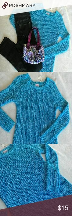 SALE! Justice sweater Turquoise (camara does not show true color) with metallic threads for a shimmery look, open-knit, medium weight. Size 12, Justice for girls. Justice Shirts & Tops Sweaters