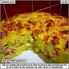syn-free carbonara quiche - yes, it's amazing - twochubbycubs Slimming World Quiche, Slimming World Pasta, Slimming World Recipes Syn Free, Syn Free Sausages, Syn Free Food, Sw Meals, Diet Meals, Low Carb Brasil, Per Diem