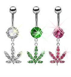 "Rhinestone Accented Marijuana Weed Pot Leaf Flower 14g Steel 3/8"" Dangle Belly Button Ring Navel Piercing Curve Body Jewelry"