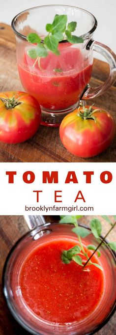HEALTHY Tomato Tea recipe that is made with 2 ingredients! This easy homemade tomato tea can be served hot or cold and is filled with many health benefits! Whenever my skin is acting up with acne, I drink a cup of this in the afternoon! Beer Recipes, Side Dish Recipes, Sweets Recipes, Coffee Recipes, Low Carp, Frozen Drink Recipes, Tomato Bisque, Dinner Dishes, Vegetable Side Dishes