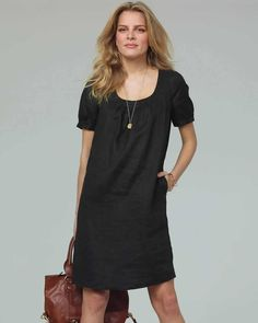 Laundered Linen Scoop Neck Dress    got to have this
