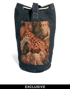 Reclaimed Vintage Animal Tapestry Duffle Bag