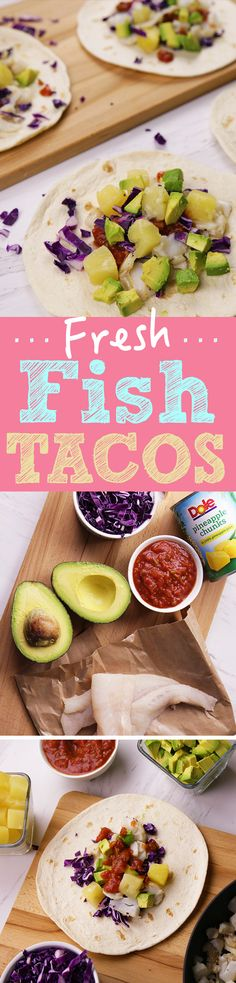 Tacos are always a good idea! Our current favorites are these Fresh Fish Tacos topped with DOLE® Canned Pineapple Chunks, avocado, cabbage and salsa.