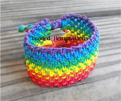 Rainbow Pride Hemp Cuff Bracelet  Free by BeadedHemptations, $19.99