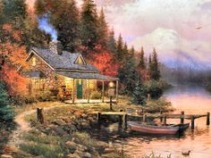 (usa) Evening Solitude by Thomas Kinkade (1958- 2012). The painter of Light. born in California.