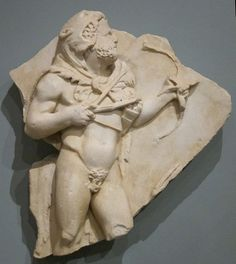 Hercules (Heracles), Roman relief (marble), fragment of sarcophagus, 2nd century AD, (Honolulu Academy of Arts).