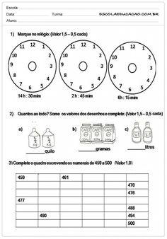 Atividades de Matemática 2º ano - Marque as Horas