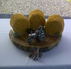 This groom loves to farm and asked for something to go with the pewter wedding tractor for his cake. What goes better with tractors than hay bales? Lol Tractor Wedding, Farm Wedding, Wedding Table, Wedding Crafts, Wedding Decorations, Wedding Ideas, Pewter Wedding, Watermelon Cupcakes, Grooms Table