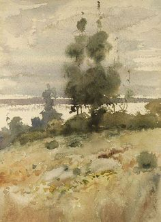 Childe Hassam (American, 1859-1935) Autumn Landscape Watercolor on paper, sight size 9 1/2 x 7 in. (24.1 x 17.7 cm)