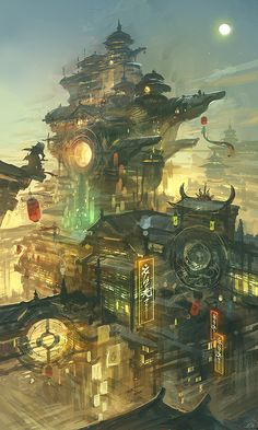 """Feng zhu design futuristic concept art city building illustration matte painting speed painting inspiration idea The Art of Animation, by Bigballgao: Certainly a very active piece, which reflects the concept """"art of animation. Fantasy Art Landscapes, Fantasy Artwork, Landscape Art, Landscape Wallpaper, Fantasy Concept Art, Fantasy Kunst, Fantasy City, Building Illustration, Art Et Illustration"""