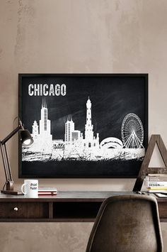 Chicago, Chicago print, Chicago poster, Illinois, chalkboard, wall art, home decor, travel poster, city prints, fine art print, iPrintPoster