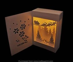 This is a shadow box lantern that has a section in the top where you can put your electronic tea lights (up side down) to give a very atmospheric silhouette 3D effect lantern.
